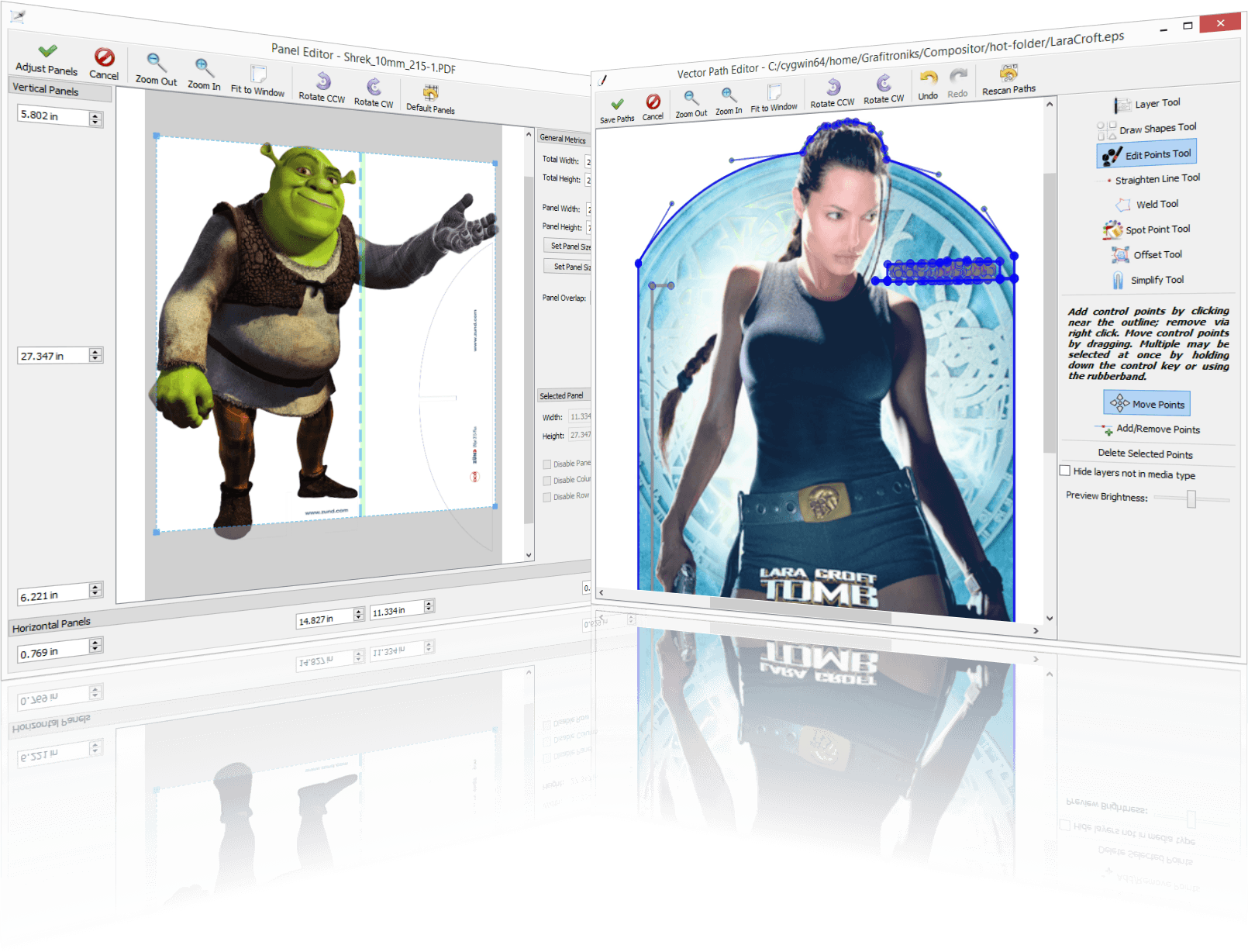 Screenshot: Panel and Vector Editors